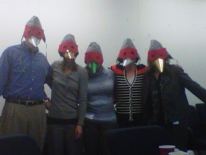 My colleagues and me dressed as Greater Sandhill Cranes.