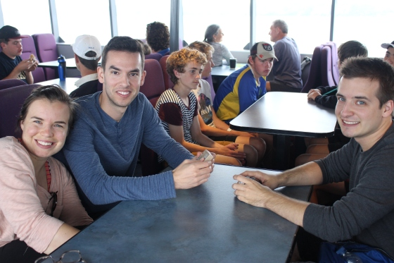 Sarah, Marcos and Tevis on the ferry to Rangitoto